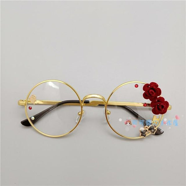 Kawaii Girl Japanese Style Glasses (20 styles) Glasses Tokyo Dreams Gold 2