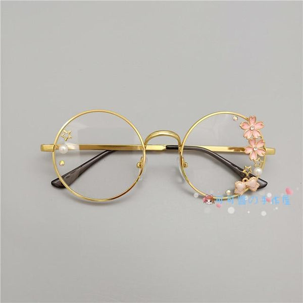 Kawaii Girl Japanese Style Glasses (20 styles) Glasses Tokyo Dreams Gold(Cherry Blossom)