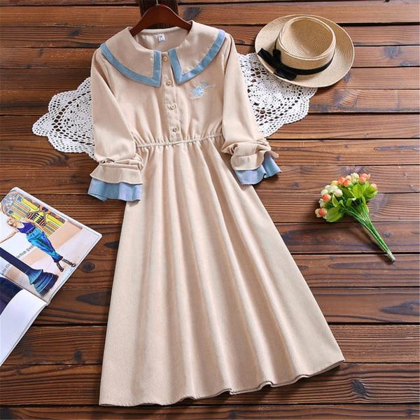 Mori Girl Blue Flower Corduroy Dress