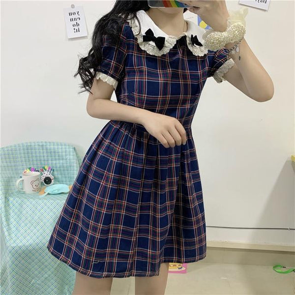 Lolita Bows Japanese Vintage Plaid Dress