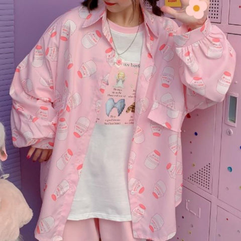 Strawberry Milk Printed Kawaii Blouse Tops Tokyo Dreams