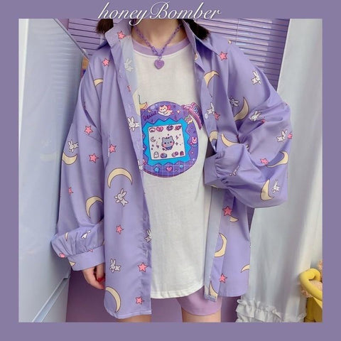 Stars and Moon Korean Kawaii Blouse - Tokyo Dreams