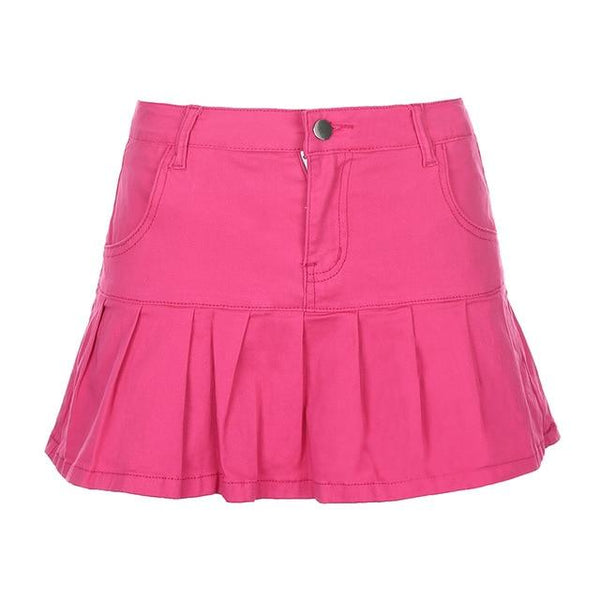 Retro Pleated Kawaii Skirt (Pink, Blue) Skirt Tokyo Dreams Pink S