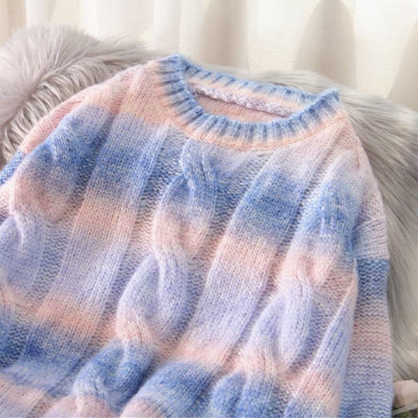 Rainbow Knitted Oversized Sweater (Pink, Blue) Sweatshirt Tokyo Dreams