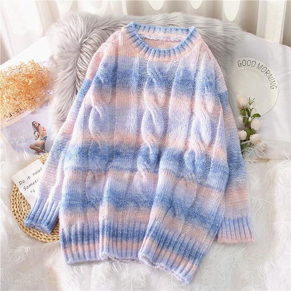 Rainbow Knitted Oversized Sweater (Pink, Blue) Sweatshirt Tokyo Dreams Blue XL