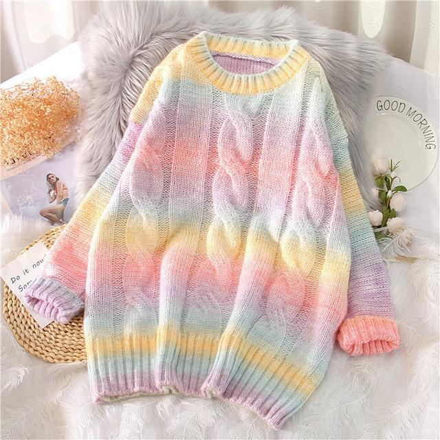 Rainbow Knitted Oversized Sweater (Pink, Blue) - Tokyo Dreams