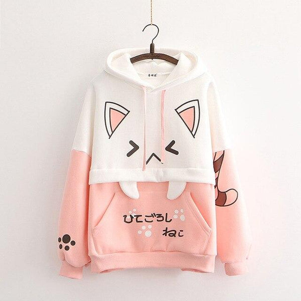 Cartoon Cat Japanese Anime Hoodie (Pink, Black) - Tokyo Dreams