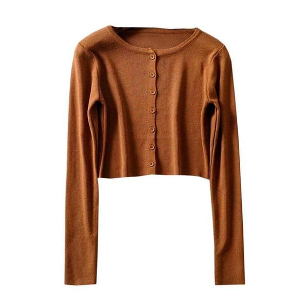 Korean Crop Top Cardigan (9 colors) Cardigan Tokyo Dreams One Size Brown