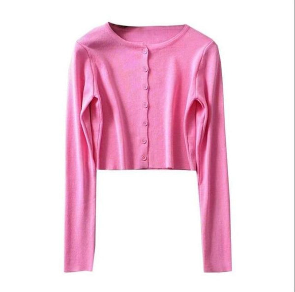 Korean Crop Top Cardigan (9 colors) Cardigan Tokyo Dreams One Size Pink