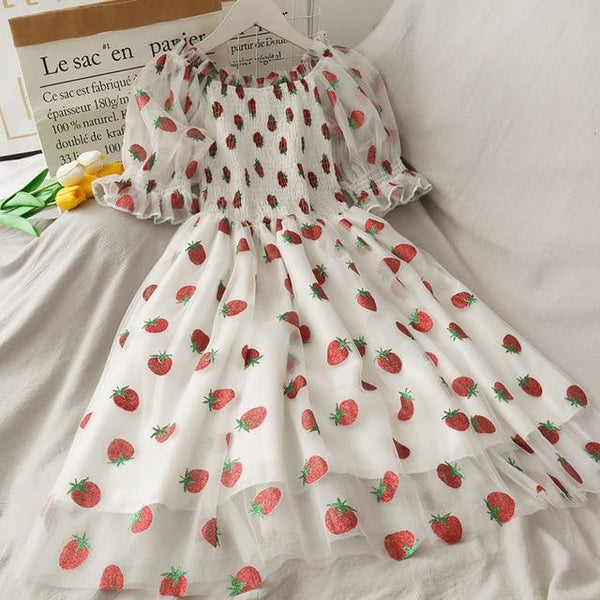 Strawberry Princess French Puff Dress (Pink, Purple, White) - Tokyo Dreams
