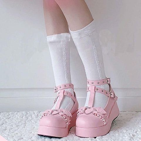 Gothic Heart Kawaii Shoes (Black, Pink) Shoes Tokyo Dreams Pink 6.5