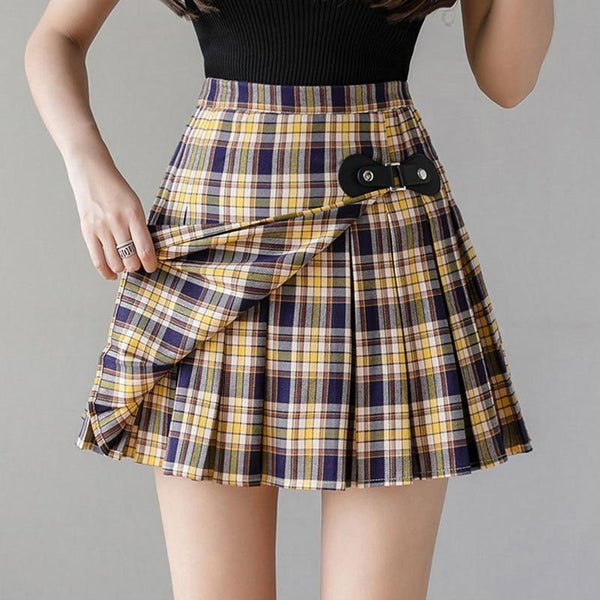 Preppy Plaid Buckled Pleated Skirt Skirt Tokyo Dreams