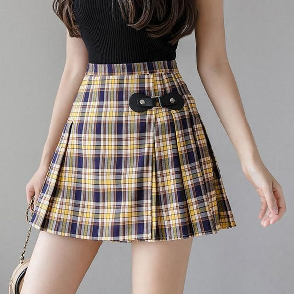 Preppy Plaid Buckled Pleated Skirt Skirt Tokyo Dreams yellow L