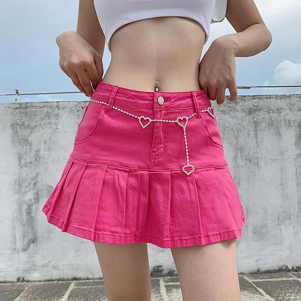 Retro Pleated Kawaii Skirt (Pink, Blue) Skirt Tokyo Dreams