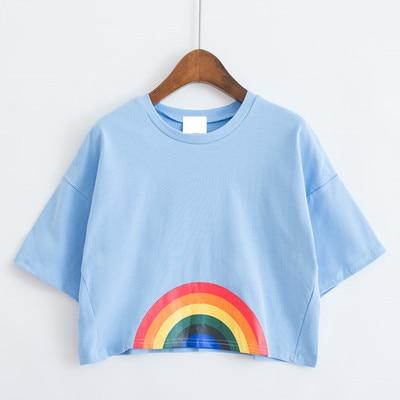 Cartoon Rainbow Crop Top Tee - Tokyo Dreams