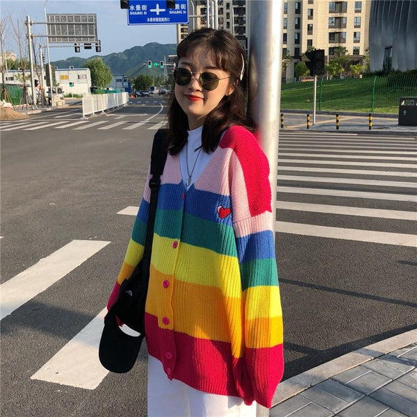 Rainbow Striped Oversized Cardigan - Tokyo Dreams