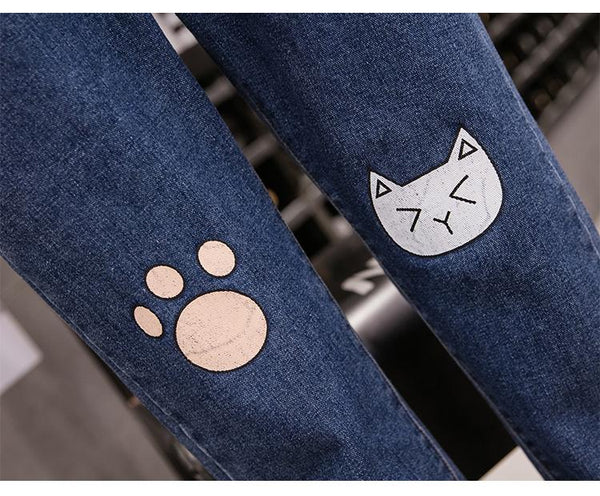 """Kitty Paw"" High Waist Jeans - Tokyo Dreams"