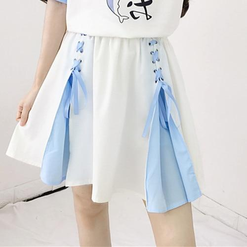 High Waist Lace Up Pleated Tutu Skirt - Tokyo Dreams