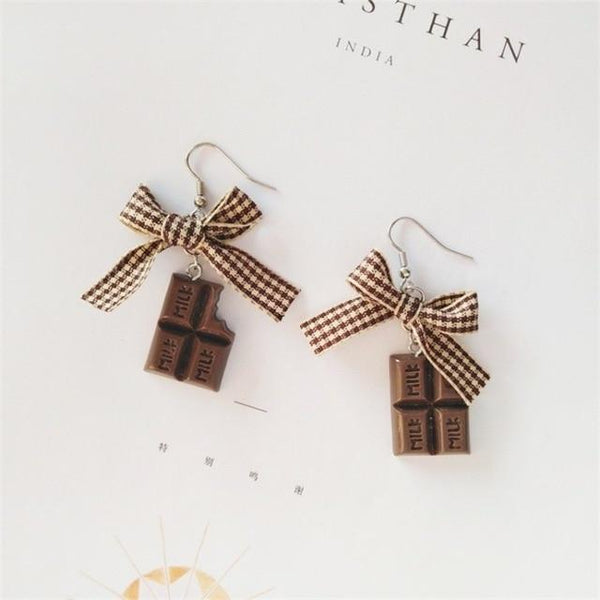 Chocolate Bow Kawaii Candy Earrings - Tokyo Dreams