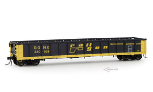 "Sold out at Arrowhead Models; Still Available through our Dealers. GONX #330100-330499 ""As Delivered"" Greenville 2494 ""Railgon"" Gondola"