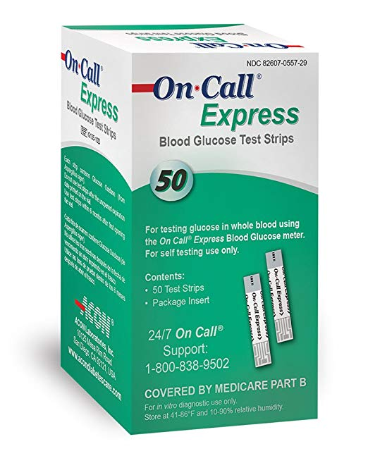On Call Express Blood Glucose Test Strips - 150 ct (3 boxes of 50) +FREE BONUS!