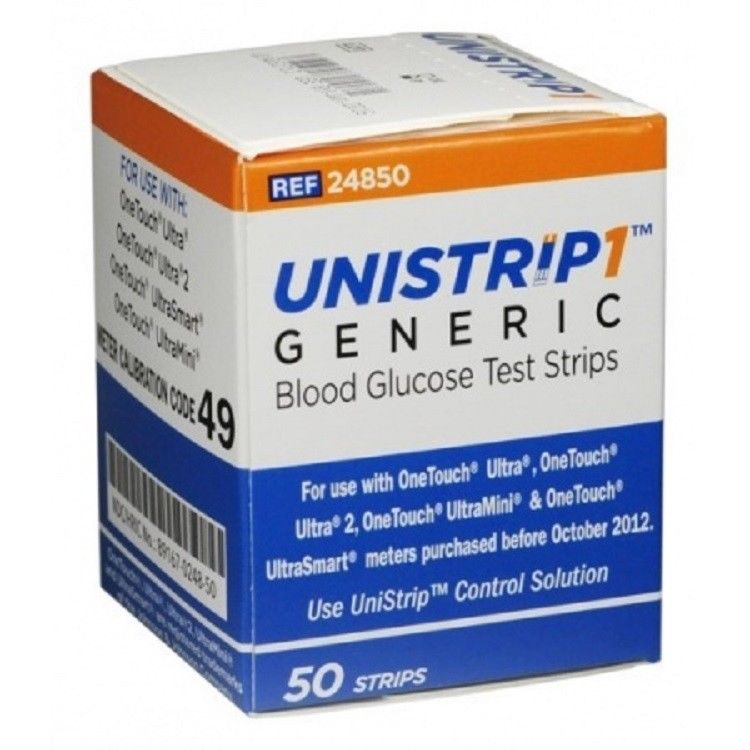 100 UniStrip1 Test Strips - OneTouch Generic
