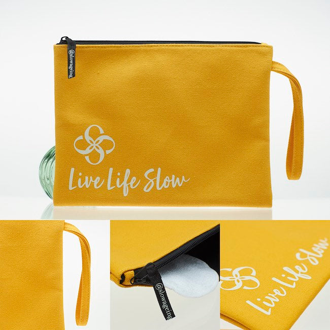 Live Life Slow Wash Bag & Reusable Facial Round