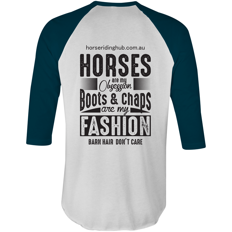 Colour Raglan - 3/4 Sleeve T-Shirt Horse Obsession XS-2XL