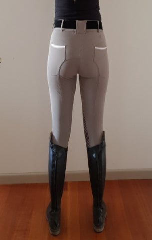 LADIES GREY COOLMAX BREECHES WITH SILICONE KNEE