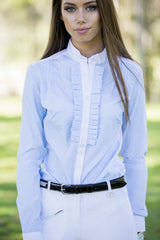LADIES LONG SLEEVE STRIPED FRILL SHOW SHIRT