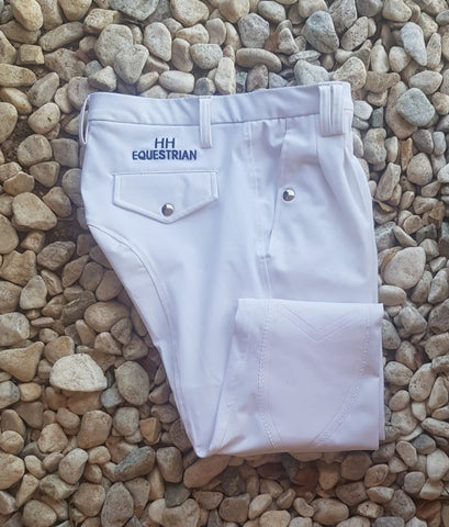 MENS WHITE COOLMAX PLEATED BREECHES WITH SUEDE KNEE