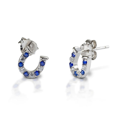 KELLY HERD BLUE & CLEAR HORSESHOE EARRINGS - STERLING SILVER