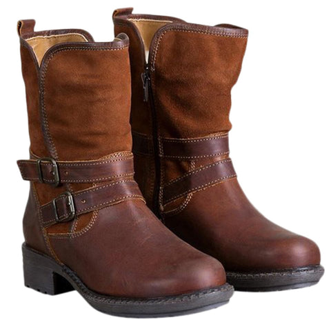 Size 6 (37) Leather med high Boots Women's Western Rodeo Zipper Motorcycle Buckle Comfy Low Heel Boots