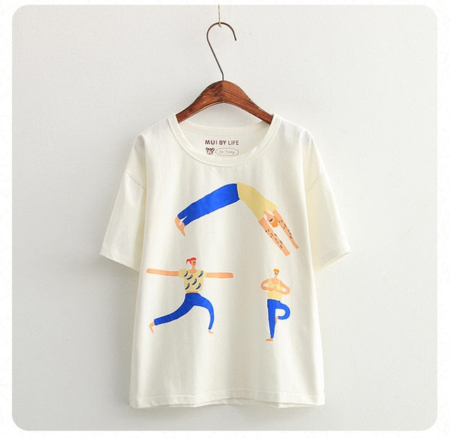Women's O-neck Short Sleeve Cotton T-shirt Korean Fashion Cute White T-shirts Mermaid Cartoon Printed 2017 New Summer Tee Tops
