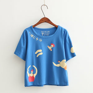 Women's Short-sleeved T-shirts Korean Mori Girl's Cotton T Shirts Playful Harajuku Tops Loose Print Letters 2017 Summer New