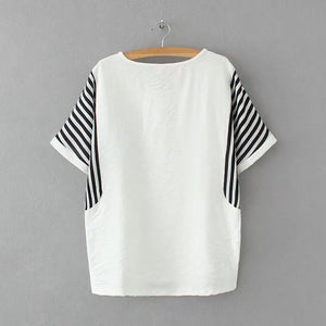 Plus size O neck printing Striped women t shirt 2017 Casual t-shirt Batwing Sleeve women tops tshirt summer tee shirt femme