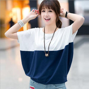 New Fashion Women T shirt Patchwork Color O Neck Loose Cotton Woman Tshirt Top Summer Short Sleeve Camisetas Feminina