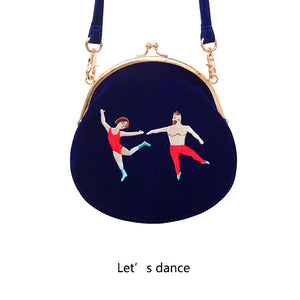 YIZI SToRe Vintage Velvet Embroidery Women Messenger Bags In Semi-circle Round Shape Original Designed(FUN KIK)