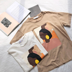 Vintage Abstract Painting Summer Women T Shirt Short Sleeved Korean Style Thin Round Neck Tee Shirt Tops