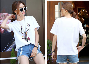 Women's white short-sleeved printed t-shirt O-Neck cotton