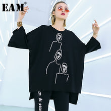 [EAM] 2019 New Spring Summer Round Neck Three-quarter Sleeve Big Size Pattern Printed Loose T-shirt Women Fashion Tide JQ188