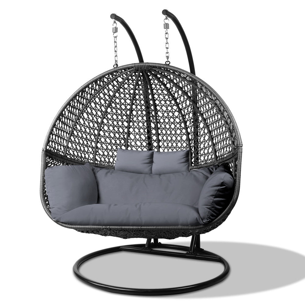 Cool Gardeon Outdoor Double Hanging Swing Chair Black Alphanode Cool Chair Designs And Ideas Alphanodeonline