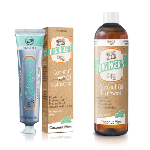 Coconut Oil Mouthwash & Toothpaste Product Image - Fluoride Free, Brightens Teeth, Freshens Breath, Supports Gums