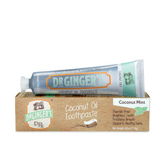 Dr. Ginger's Coconut Oil Toothpaste, Tube and Box Laying Horizontally