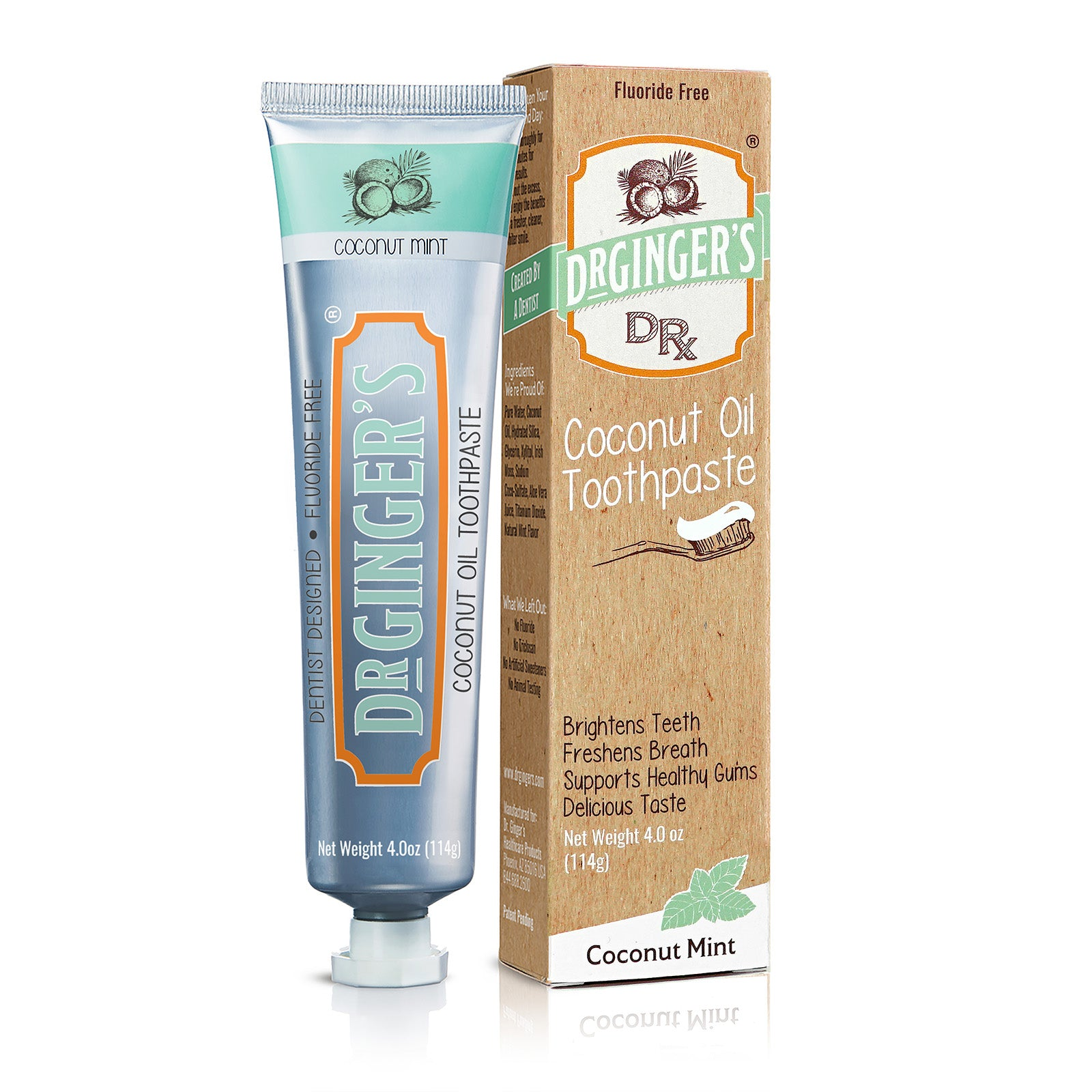 Dr. Ginger's Coconut Oil Toothpaste, Tube and Box