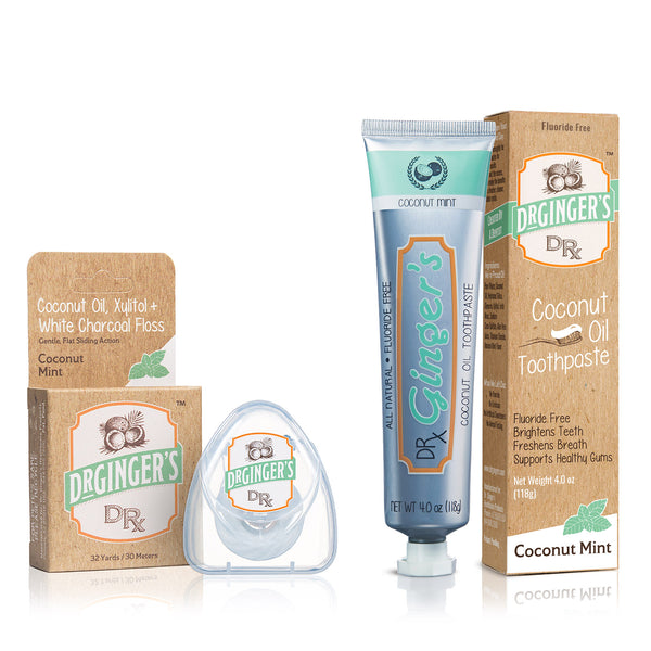 Dr. Ginger's White Charcoal Expanding Floss + Coconut Oil Toothpaste