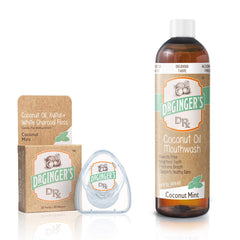 Coconut Oil Mouthwash & White Charcoal Floss - Product Image - Fluoride Free, Brightens Teeth, Freshens Breath, Supports Gums