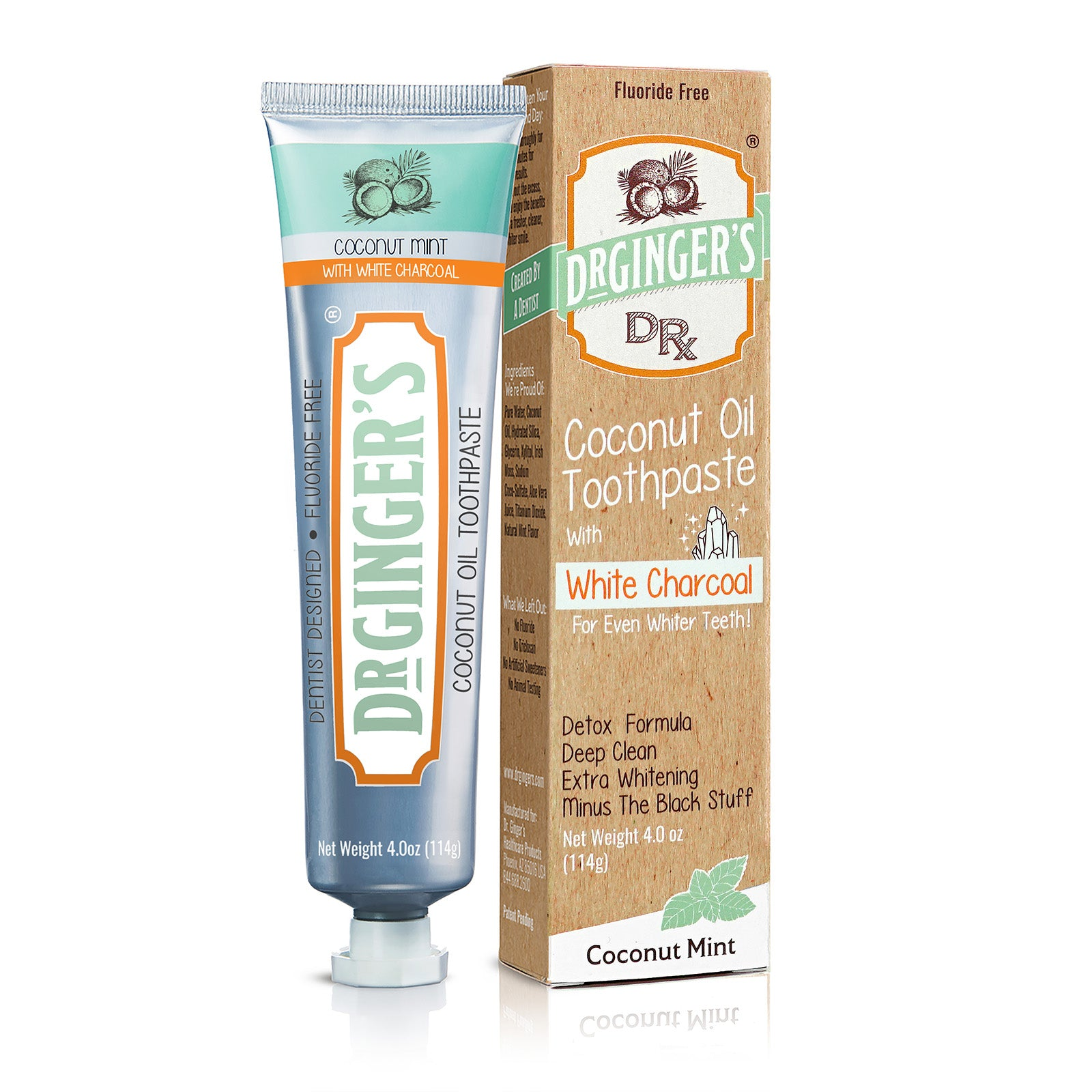 Dr. Ginger's White Charcoal Toothpaste, Tube and Box