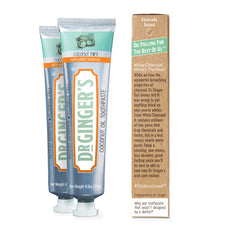 Dr. Ginger's White Charcoal Toothpaste, Tube and Box Displaying an information panel that reads: