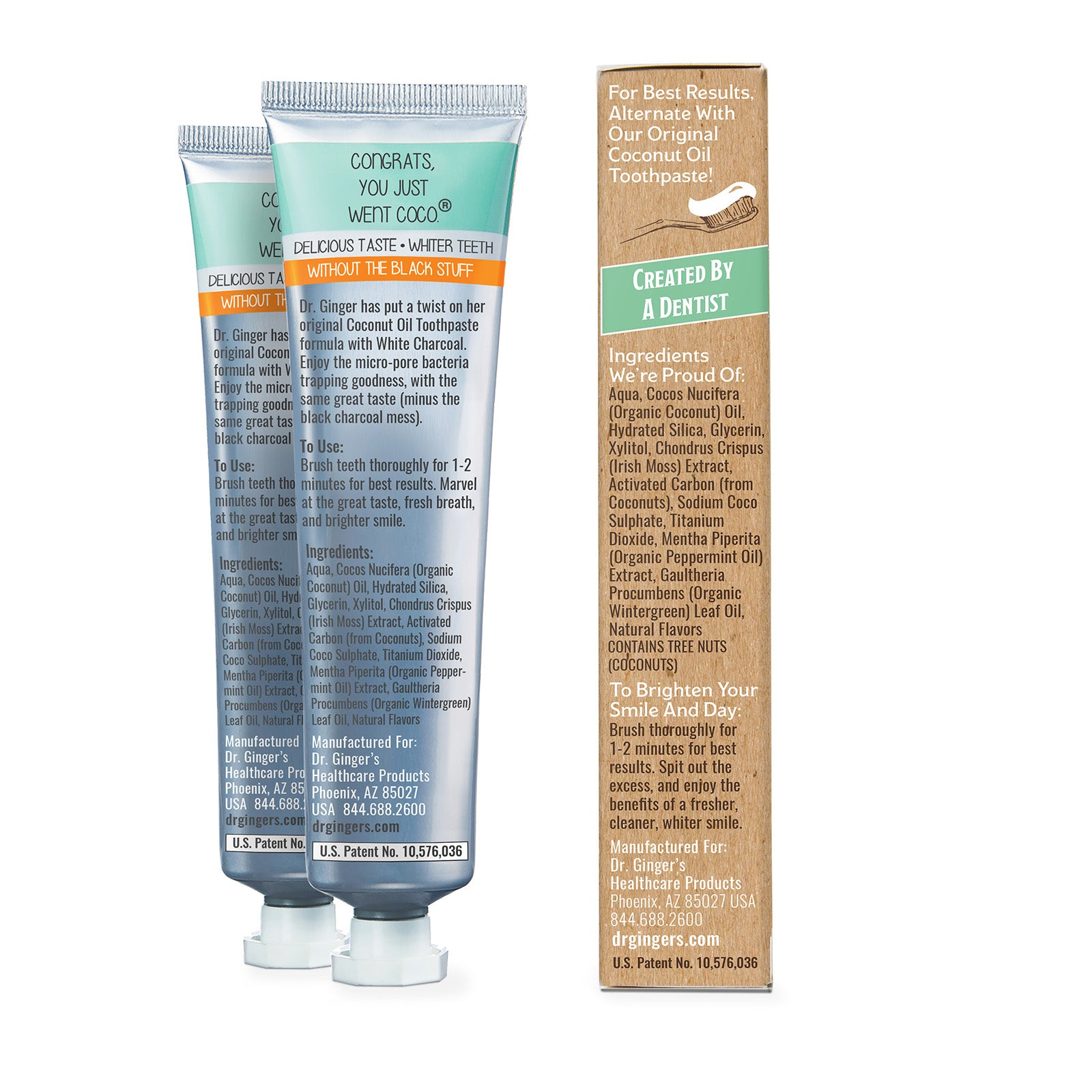 Dr. Ginger's White Charcoal Toothpaste, Tube and Box Displaying The Ingredients Panel.